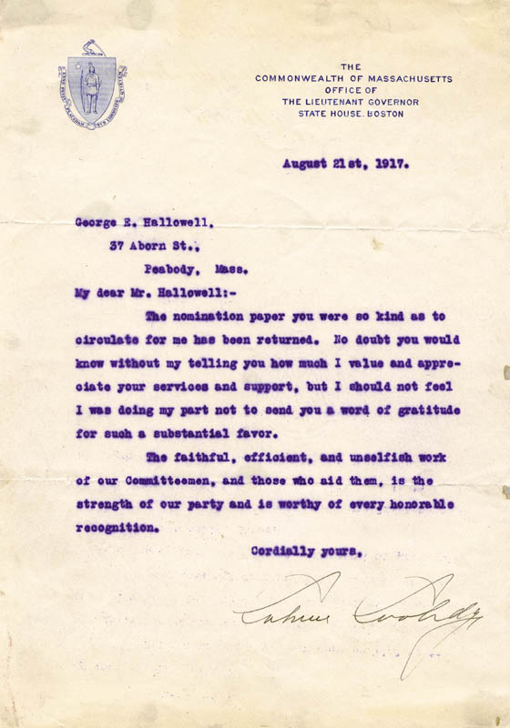Image 1 for President Calvin Coolidge - Typed Letter Signed 08/21/1917 - HFSID 4876