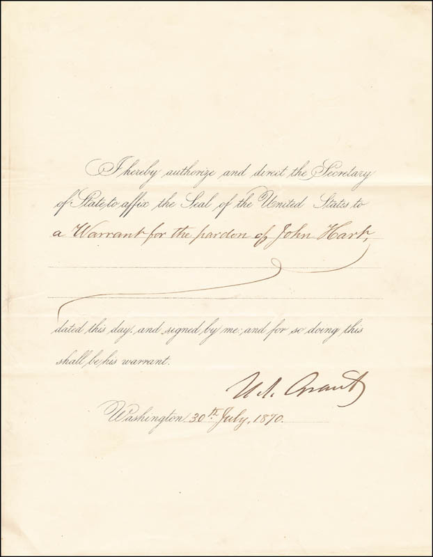 Image 1 for President Ulysses S. Grant - Presidential Warrant Signed 07/30/1870 - HFSID 4895