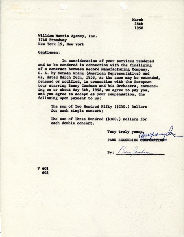 Image 1 for Benny Goodman - Contract Signed 03/26/1958 - HFSID 49060