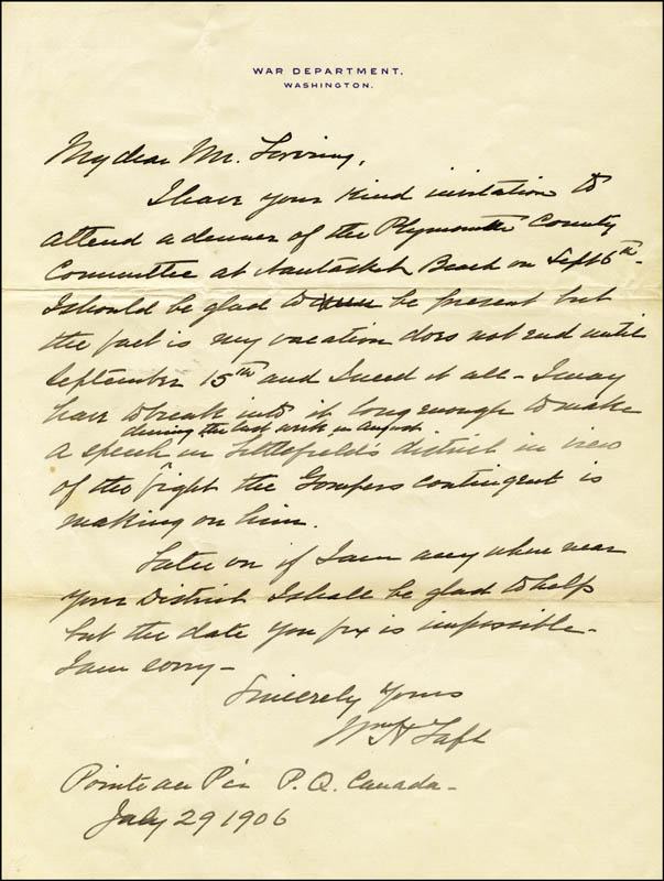 Image 1 for President William H. Taft - Autograph Letter Signed 07/29/1906 - HFSID 4909
