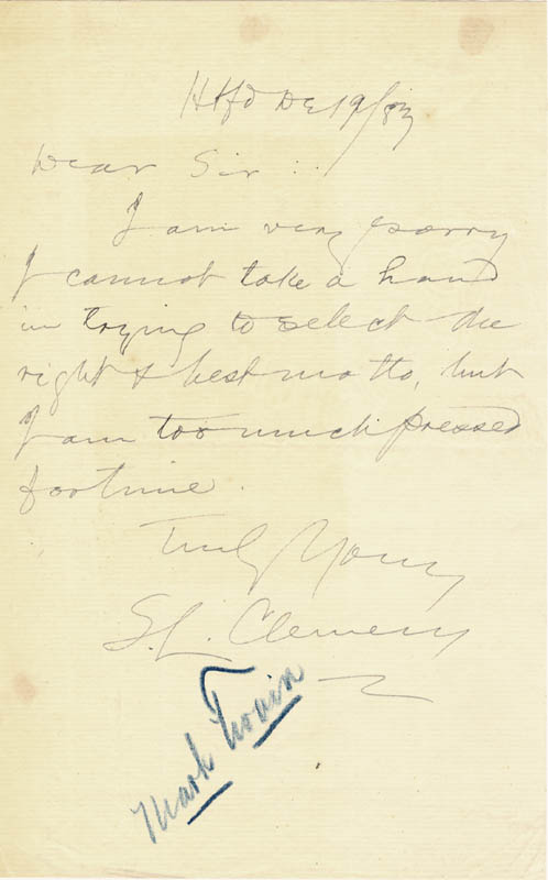Image 1 for Samuel L. 'Mark Twain' Clemens - Autograph Letter Signed 12/19/1883 - HFSID 49148
