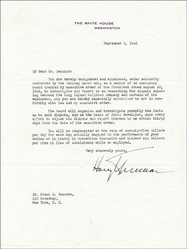 Image 1 for President Harry S Truman - Typed Letter Signed 09/05/1946 - HFSID 49188