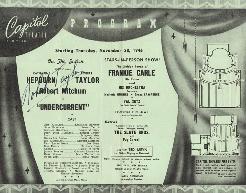 Image 1 for Robert Taylor - Program Signed Circa 1946 - HFSID 493