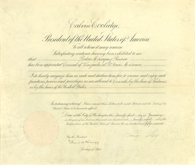 President Calvin Coolidge Diplomatic Appointment Signed 01211928