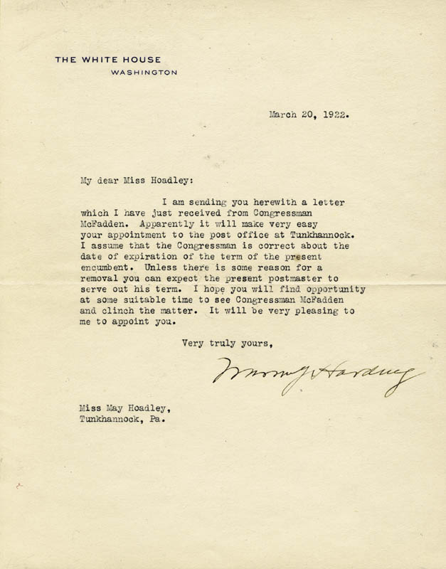Image 1 for President Warren G. Harding - Typed Letter Signed 03/20/1922 - HFSID 4935