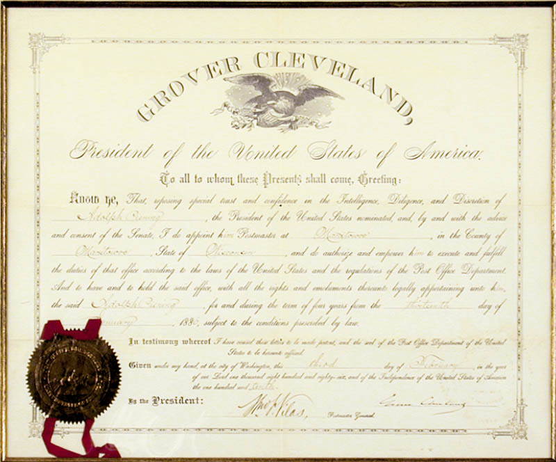 Image 3 for President Grover Cleveland - Civil Appointment Signed 02/03/1886 co-signed by: William F. Vilas - HFSID 4939