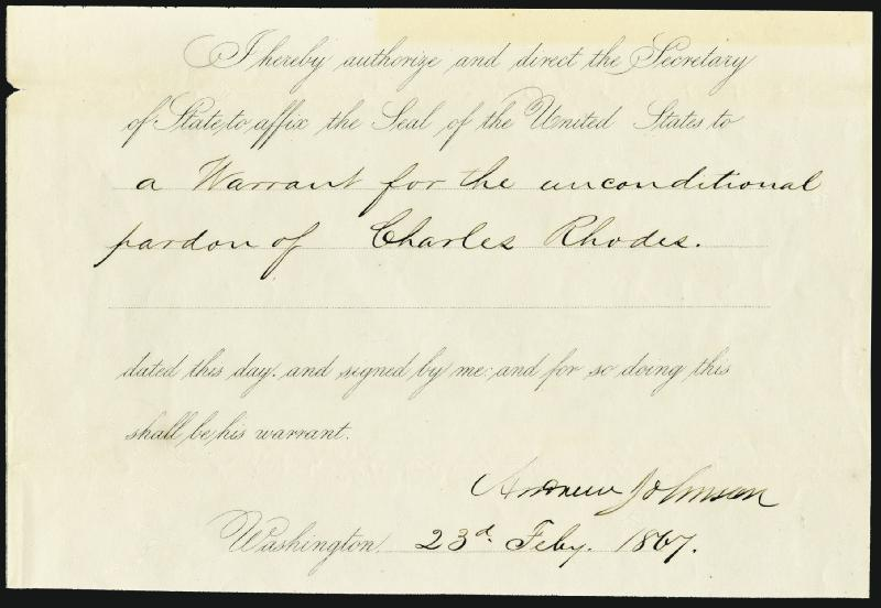Image 1 for President Andrew Johnson - Presidential Warrant Signed 02/23/1867 - HFSID 4941