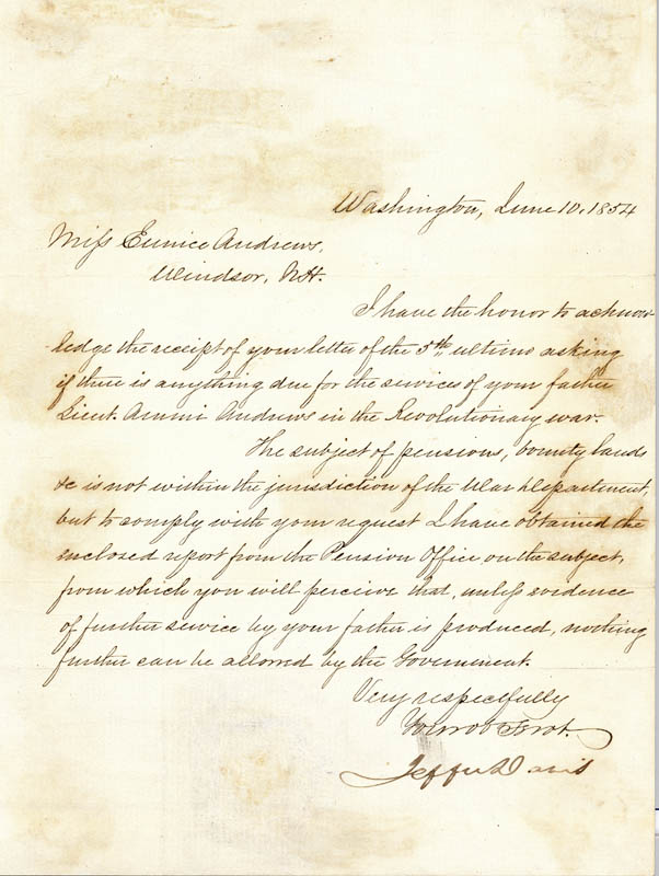 Image 1 for President Jefferson Davis (Confederate States Of America) - Manuscript Letter Signed 06/10/1854 - HFSID 49422
