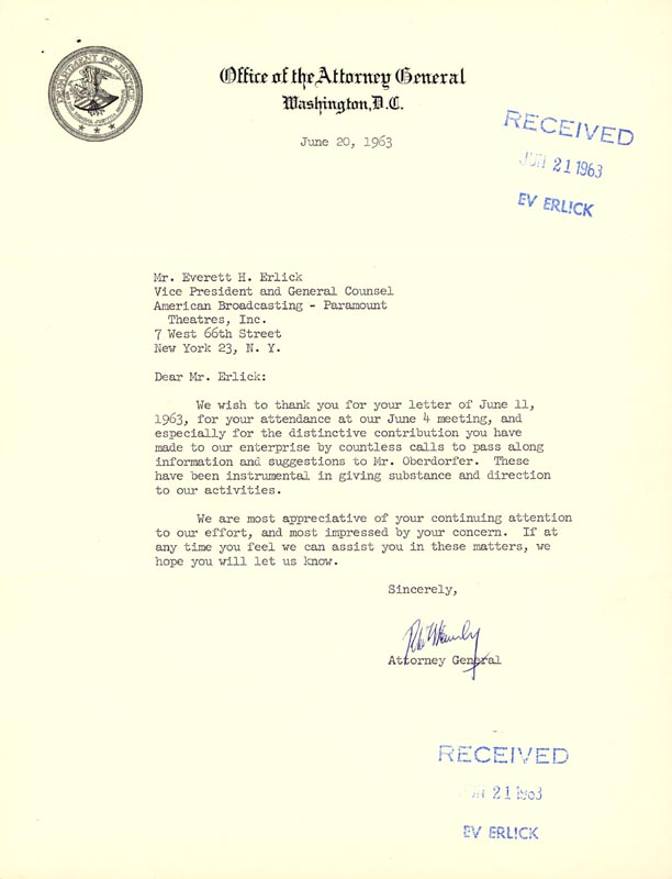 Image 1 for Robert F. Kennedy - Typed Letter Signed 06/20/1963 - HFSID 49458