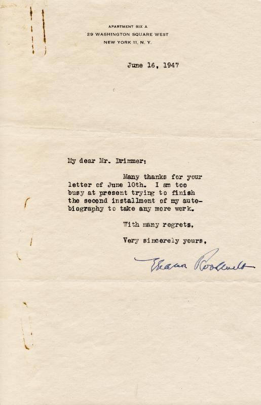 Image 1 for First Lady Eleanor Roosevelt - Typed Letter Signed 06/16/1947 - HFSID 49517