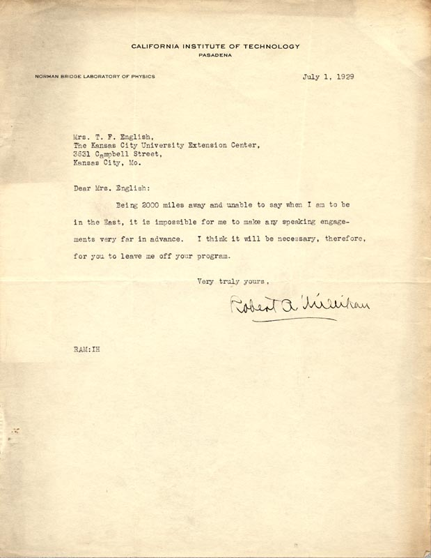 Image 1 for Robert A. Millikan - Typed Letter Signed 07/01/1929 - HFSID 49530