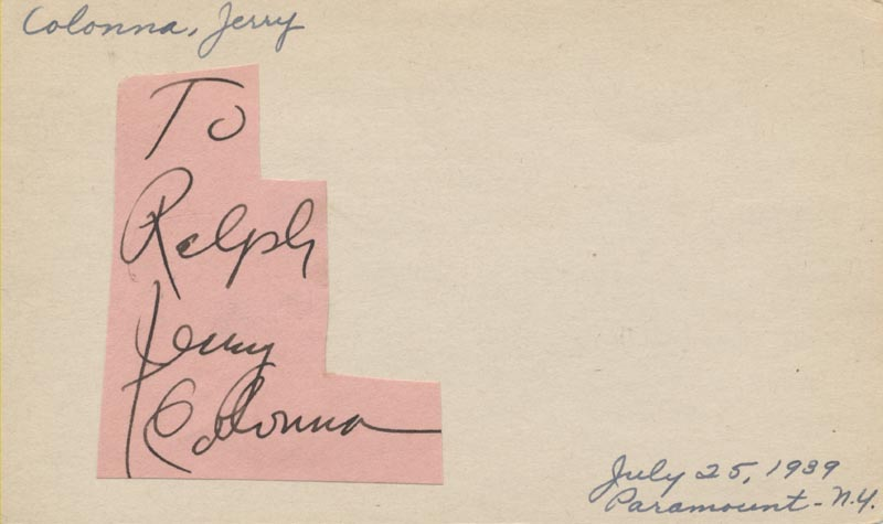 Image 1 for Jerry Colonna - Inscribed Signature - HFSID 49607
