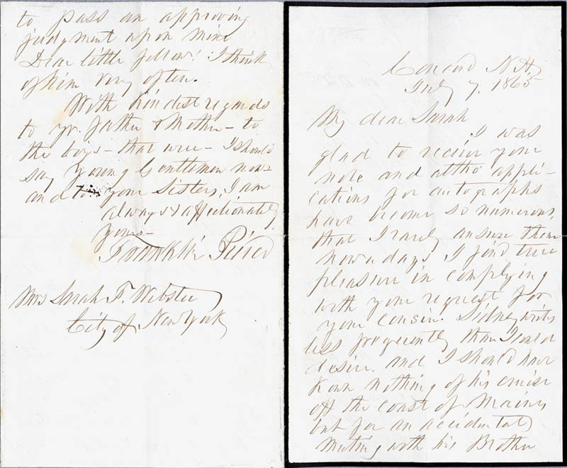 Image 1 for President Franklin Pierce - Autograph Letter Signed 07/07/1865 - HFSID 4987