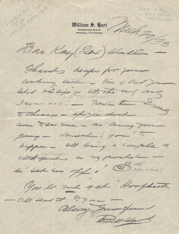 Image 1 for William S. Hart - Autograph Letter Signed 03/20/1933 - HFSID 499
