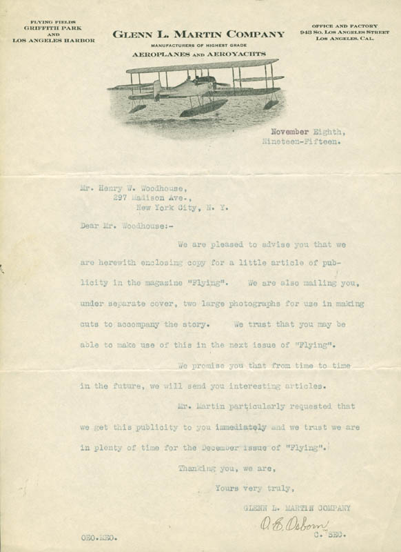 Image 1 for O. E. Osborn - Typed Letter Signed 11/08/1915 - HFSID 5000185