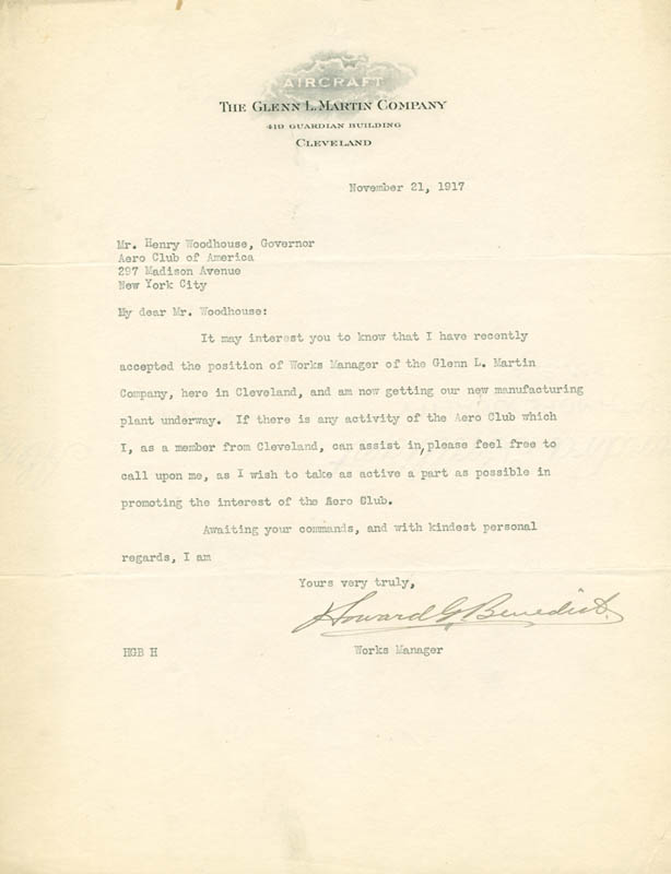 Image 1 for Howard G. Benedict - Typed Letter Signed 11/21/1917 - HFSID 5000218