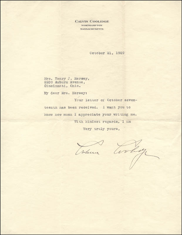 Image 1 for President Calvin Coolidge - Typed Letter Signed 10/21/1929 - HFSID 5010