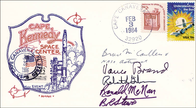 Image 1 for Space Shuttle Challenger - Sts - 41b Crew - Commemorative Envelope Signed with co-signers - HFSID 50125
