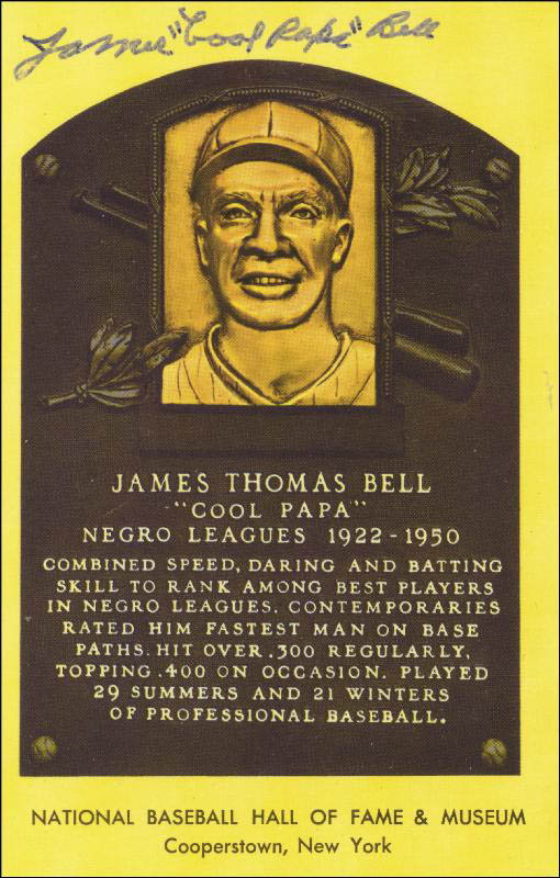 Image 1 for James 'Cool Papa' Bell - Baseball Hall Of Fame Plaque Postcard Signed - HFSID 50329