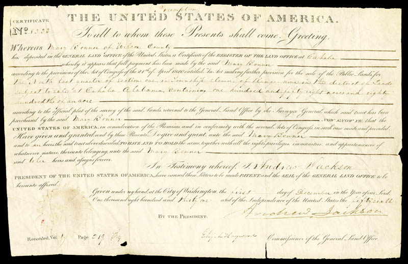 Image 1 for President Andrew Jackson - Land Grant Signed 12/01/1831 co-signed by: Elijah Hayward - HFSID 50377
