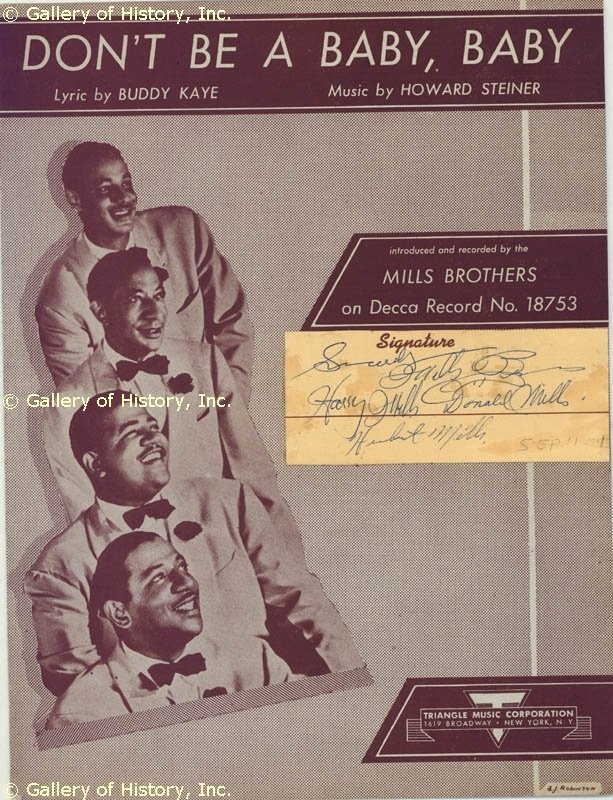 Image 1 for The Mills Brothers - Sheet Music Signed with co-signers - HFSID 50395