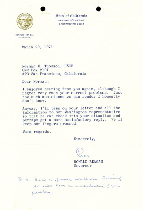 Image 1 for President Ronald Reagan - Typed Letter Signed 03/29/1971 - HFSID 50408