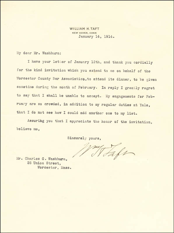 Image 1 for President William H. Taft - Typed Letter Signed 01/14/1914 - HFSID 5047