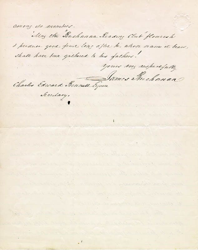Image 1 for President James Buchanan - Autograph Letter Signed 10/29/1862 - HFSID 5115