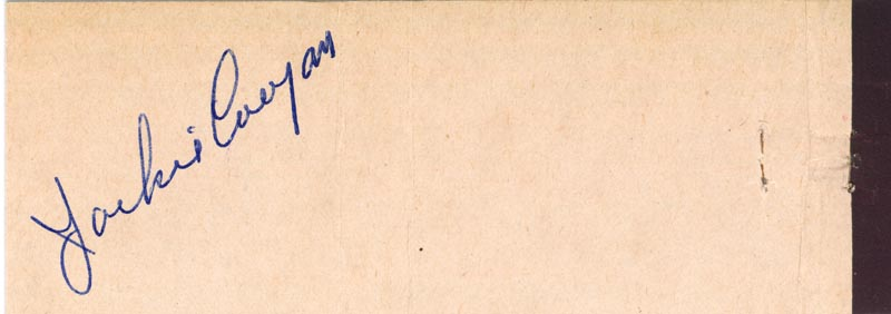 Image 1 for Jackie Coogan - Match Book Signed Circa 1968 - HFSID 51166