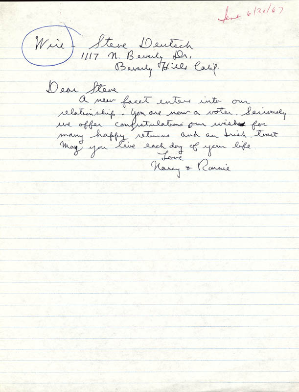 Image 1 for President Ronald Reagan - Autograph Letter Signed Circa 1967 - HFSID 51560