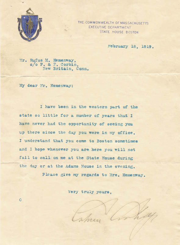 Image 1 for President Calvin Coolidge - Typed Letter Signed 02/18/1919 - HFSID 5159