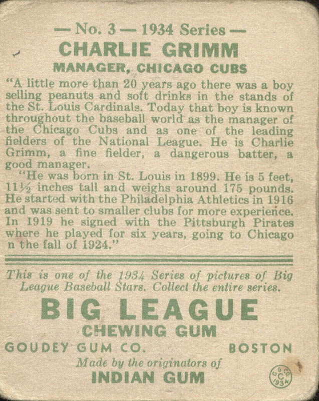 Image 3 for Charlie Grimm - Trading/Sports Card Signed - HFSID 51859
