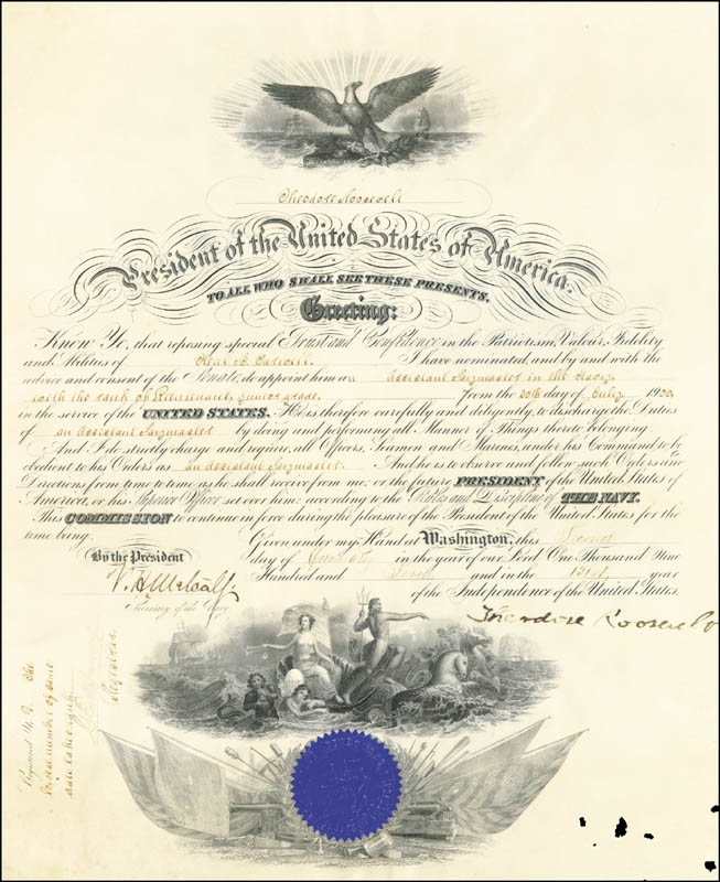 Image 3 for President Theodore Roosevelt - Naval Appointment Signed 01/02/1907 co-signed by: Victor H. Metcalf - HFSID 5185