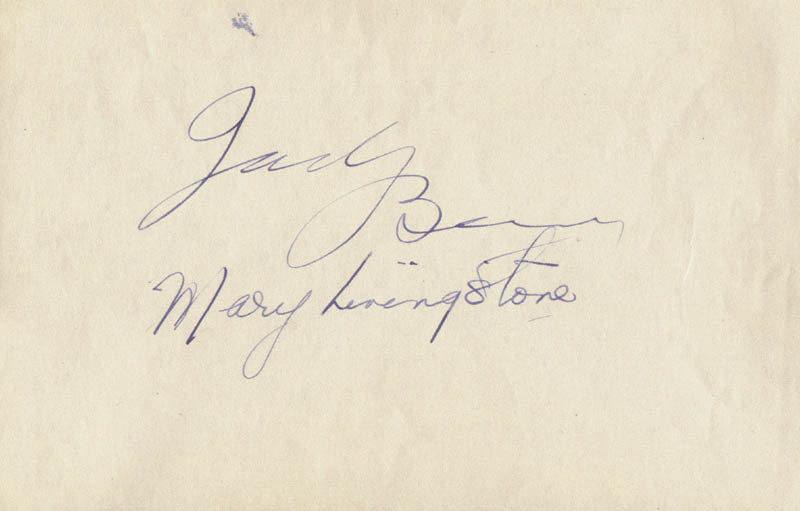 Image 1 for Jack Benny - Autograph co-signed by: Mary (Mrs. Jack Benny) Livingstone - HFSID 51960