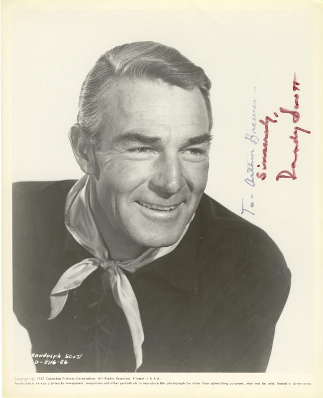 Image 1 for Randolph Scott - Printed Photograph Signed In Ink - HFSID 52148