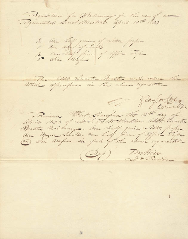 Image 1 for President Zachary Taylor - Manuscript Document Signed 04/13/1833 co-signed by: T. M. Hill - HFSID 52215