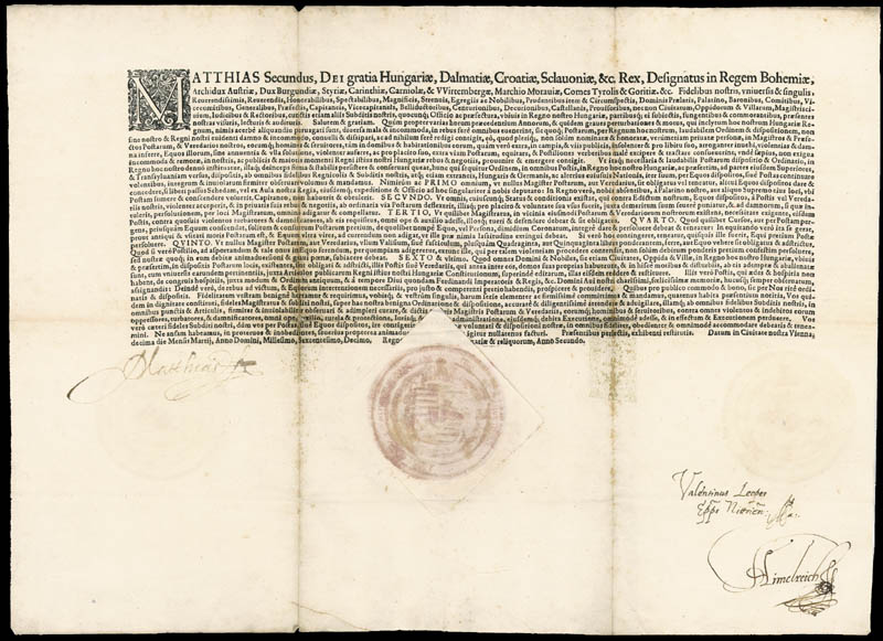 Image 1 for Emperor Matthias (Holy Roman) - Document Signed 03/10/1610 - HFSID 52264