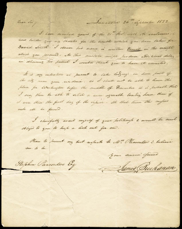 Image 1 for President James Buchanan - Autograph Letter Signed 09/26/1822 - HFSID 5235