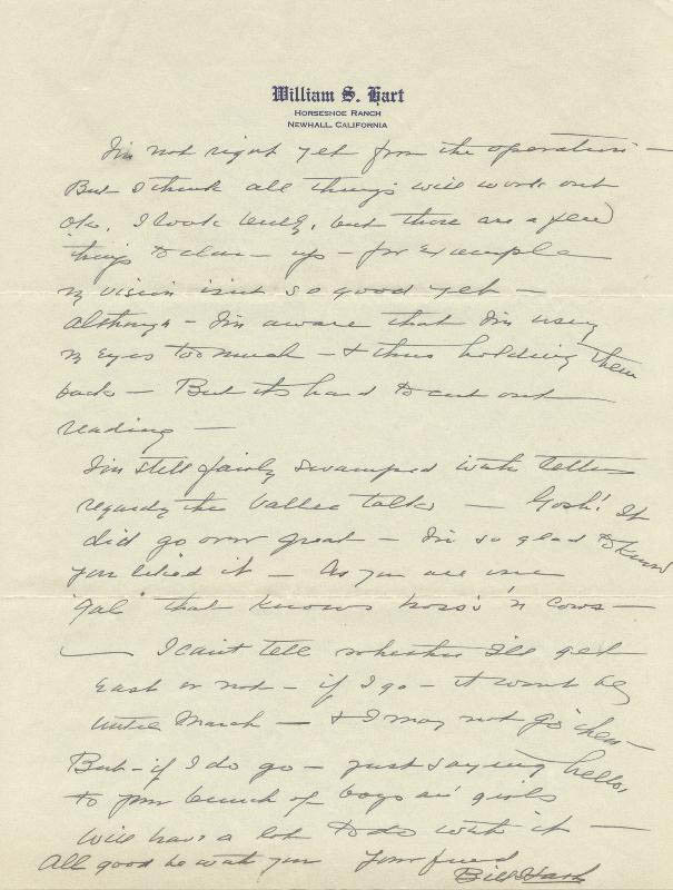 Image 1 for William S. Hart - Autograph Letter Signed 01/20/1934 - HFSID 525
