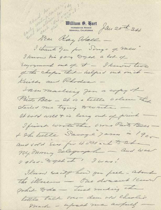 Image 3 for William S. Hart - Autograph Letter Signed 01/20/1934 - HFSID 525