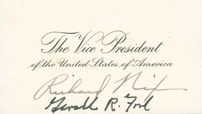 Image 1 for President Gerald R. Ford - Vice Presidential Card Signed - HFSID 52630