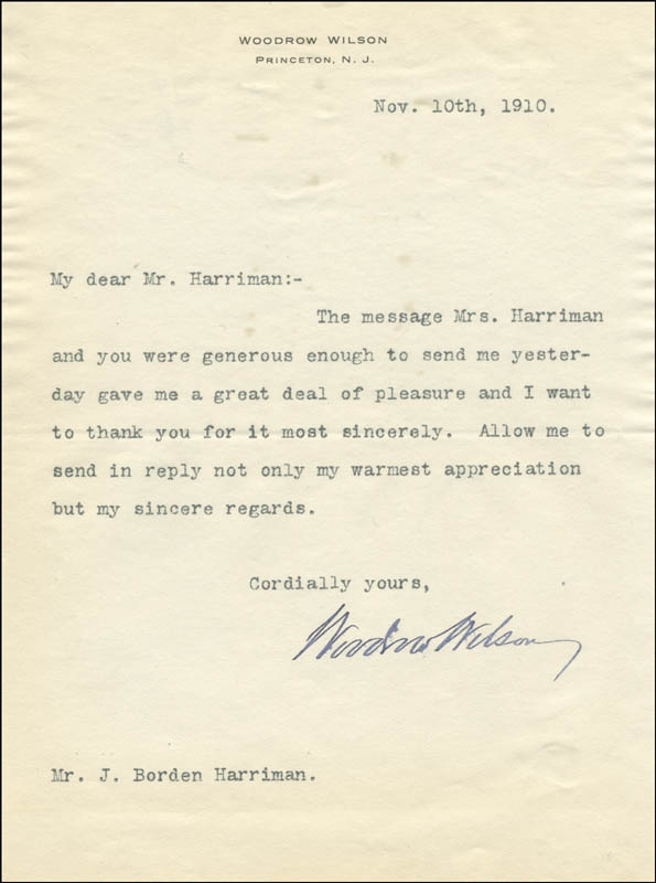 Image 1 for President Woodrow Wilson - Typed Letter Signed 11/10/1910 - HFSID 5300