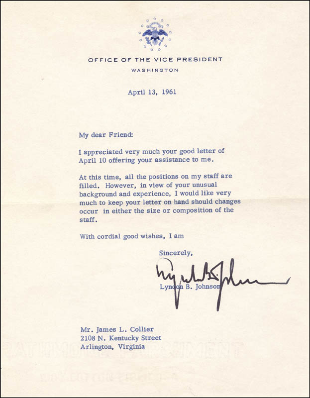 Image 1 for President Lyndon B. Johnson - Typed Letter Signed 04/13/1961 - HFSID 5317
