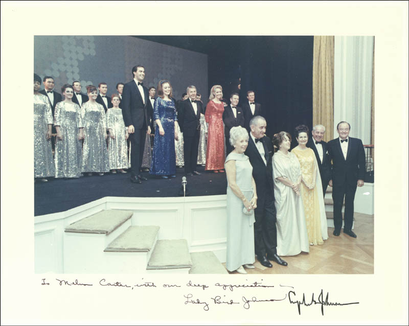 Image 1 for President Lyndon B. Johnson - Autographed Inscribed Photograph Circa 1967 co-signed by: First Lady Lady Bird Johnson - HFSID 5329