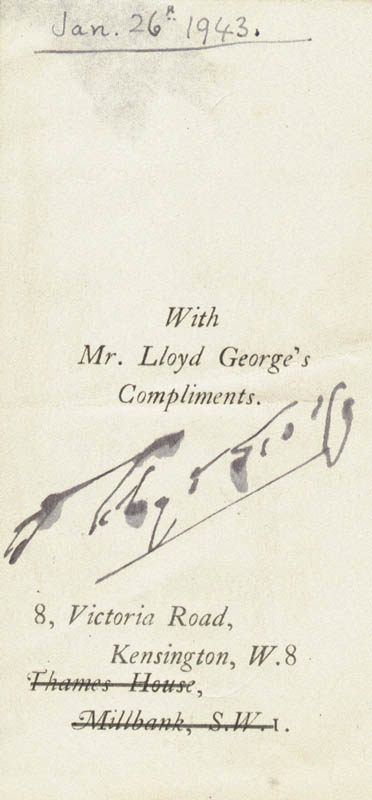 Image 1 for Prime Minister David Lloyd George (Great Britain) - Autograph Circa 1943 - HFSID 53642