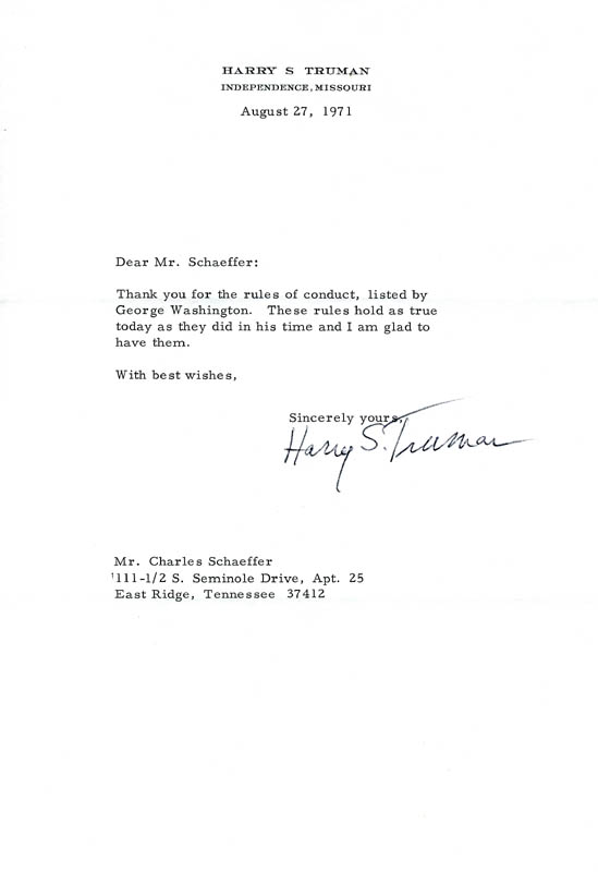 Image 1 for President Harry S Truman - Typed Letter Signed 08/27/1971 - HFSID 54057
