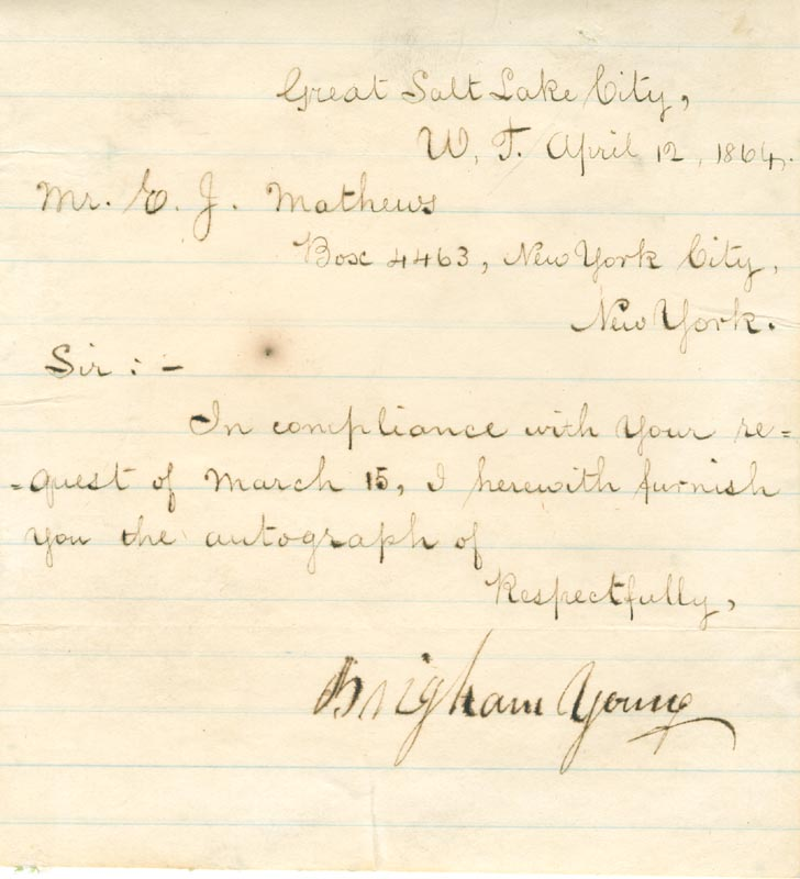 Image 1 for Brigham Young - Manuscript Letter Signed 04/12/1864 - HFSID 54084