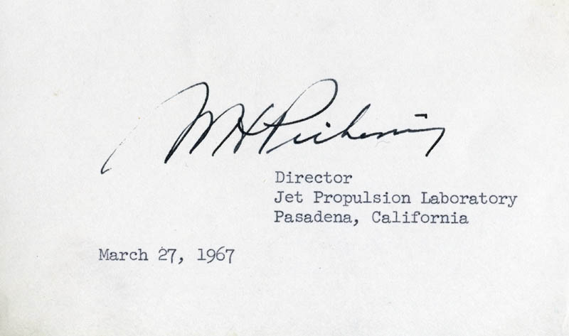 Image 1 for William Hayward Pickering - Autograph Circa 1967 - HFSID 54096