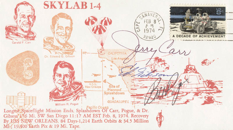 Image 1 for Edward G. Gibson - Commemorative Envelope Signed co-signed by: Colonel Gerald P. 'Jerry' Carr, Colonel William R. 'Bill' Pogue - HFSID 54256