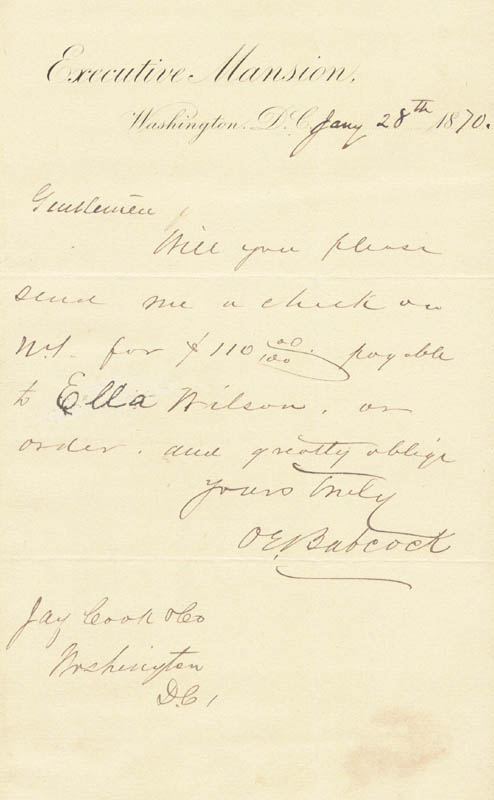 Image 1 for Brigadier General Orville E. Babcock - Autograph Letter Signed 01/28/1870 - HFSID 5449